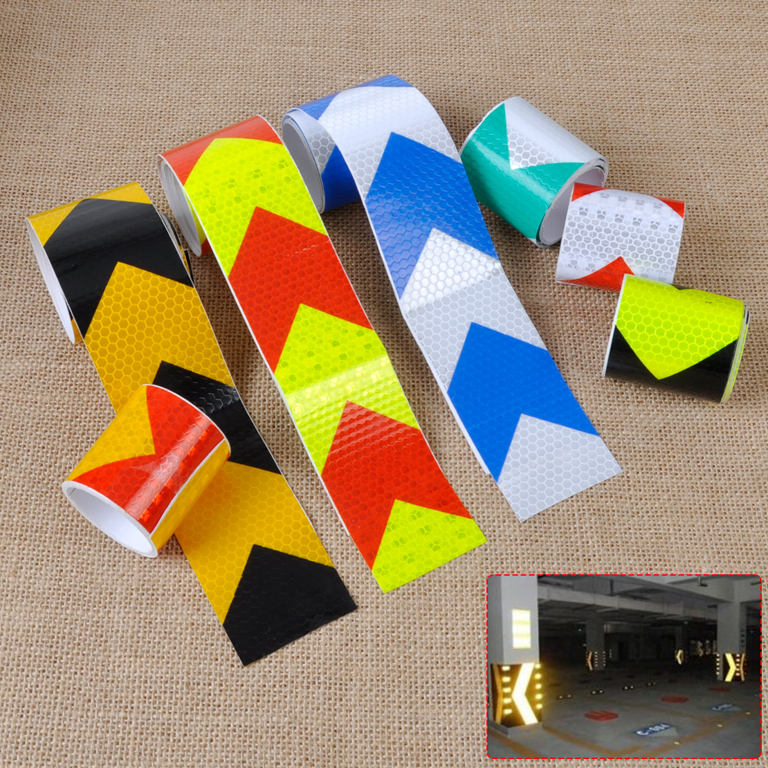 CITALL 5x300cm Arrow Safety Warning Conspicuity Reflective Roll Tape Marking Film Sticker For Car Construction Caution Sticker