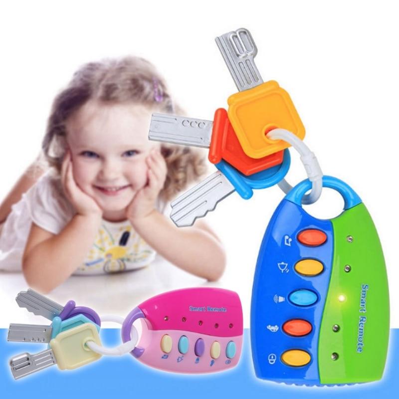 2019 Novas Crianças Pretend play Brinquedos Musicais Do Bebê Musical Vocal Inteligente Remoto Chave Do Carro Carro Vozes Pretend Play Brinquedos Educativos