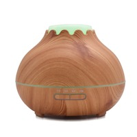 400ml Aroma Essential Oil Diffuser Ultrasonic Wood Grain Air Humidifier With 7 Color Changing LED Lights