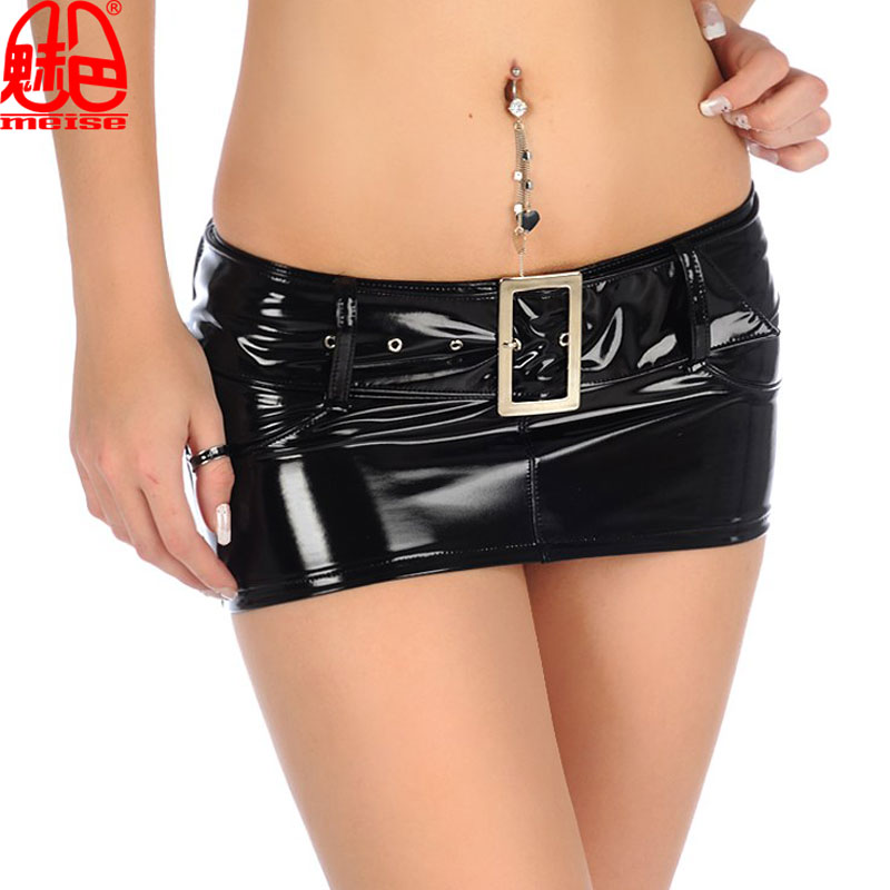 Sexy Women Latex PVC Shiny Micro MINI Pencil Skirt Punk Low Waist Package Hip Skirt Faux Leather Skirt Club Weaar Plus Size F45 image