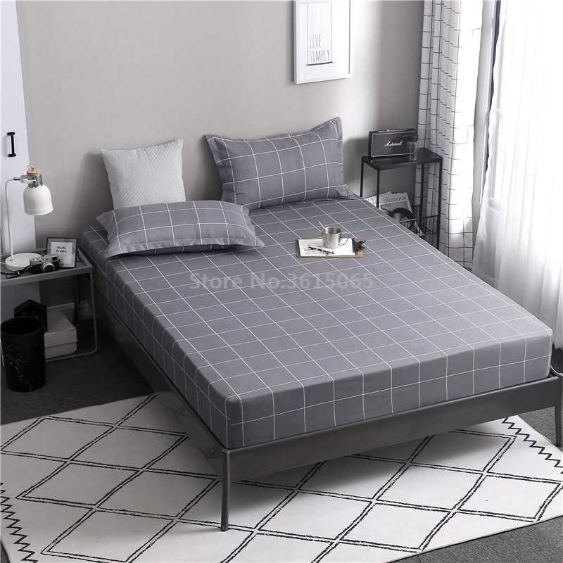 Modern Gray Plaid Fitted Sheet with Elastic Band 2019 Bed Sheets 25cm Deep Mattress Cover Bedspreads Twin Full Queen King Size