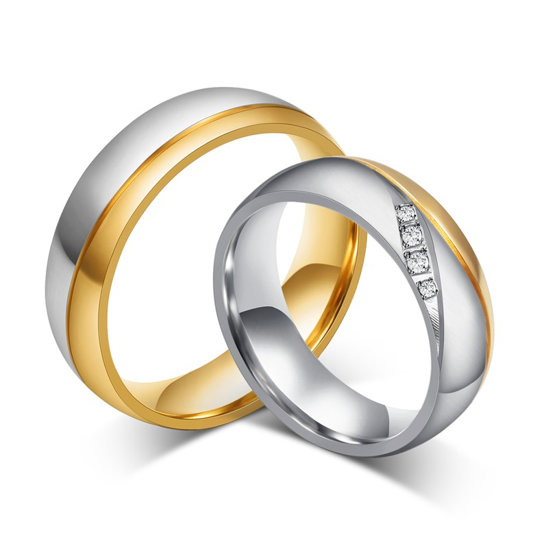 LIN STUDIO Luxury 6MM Gold 316L Stainless Steel Rings For Women Man Crystal CZ Wedding I Promise Ring Set Jewelry CR-035