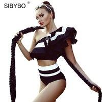 SIBYBO Ruffles Crop Top Two Pieces Set Jumpsuit Romper Women Sexy Club Bodysuit Summer Off Shoulder