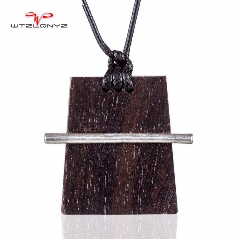 2018 Special Design Wood Necklaces Jewelry Black Sandalwood Pendant Long Necklace Women Collares Mujer Choker Kolye Bijoux Femme