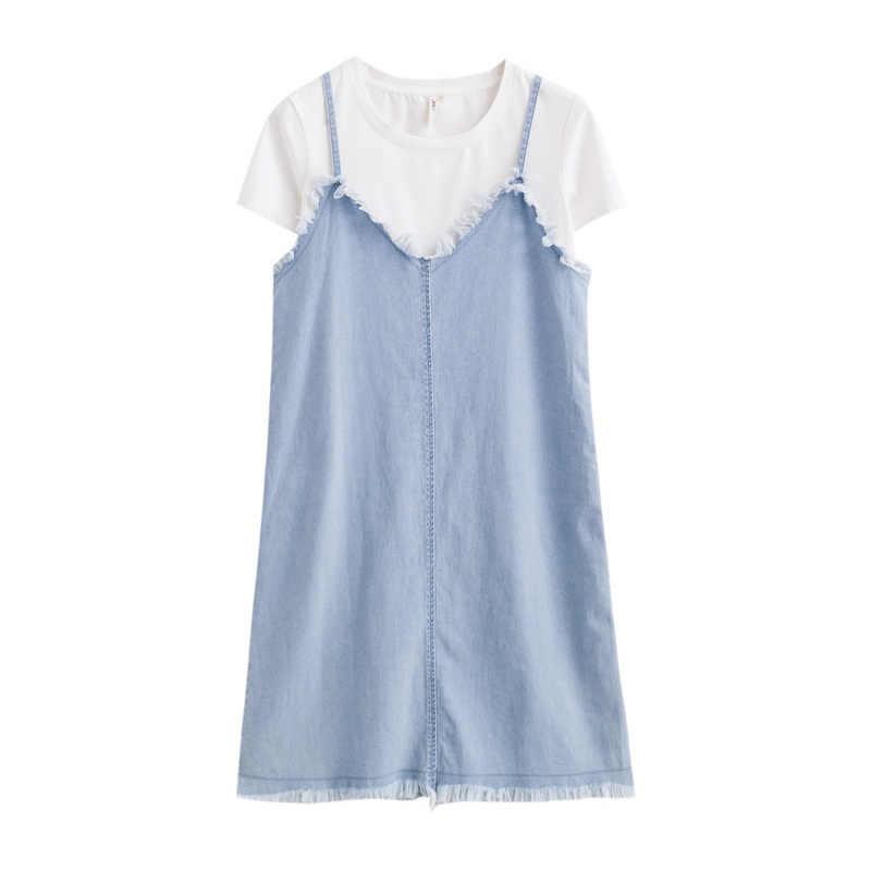 Инман 2019, летнее новое платье, футболка с коротким рукавом, джинсовый топ на бретелях, двухсекционное платье