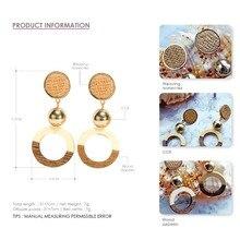 Wood Dangle Earrings  Zinc Alloy Round Hole Drop Earrings