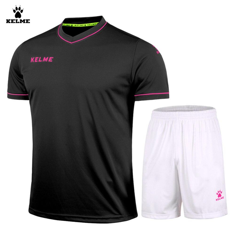 ФОТО Kelme Men Short Sleeve V-neck Breathable Elastic Soccer Suit K15Z204 Black