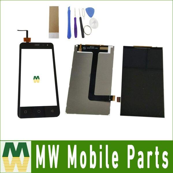 1 pc/lot alta calidad para micromax lona Q415 separada pantalla táctil y pantalla LCD color negro con las herramientas + cinta
