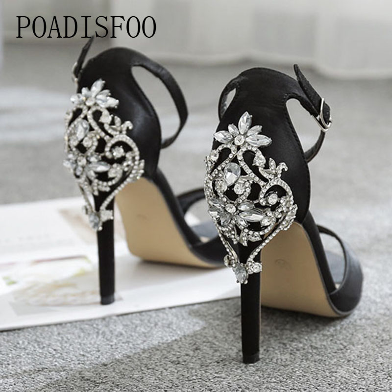 все цены на Women Sexy Ctystal Sandals women's Shoes Luxury Large Rhinestone Stiletto Sandals 11.5cm Heel Sandals Drop Sale ZL-938-6