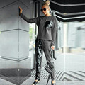 European Autumn Fashion Sequined Women Suits Casual Pockets Patchwork Sweatshirts and Pants Tracksuits Loose Ladies Set 63468