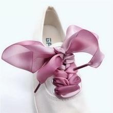 1 Pair New Ribbon Shoelaces 4CM Width 80CM/100CM/120CM/140CM Length Canvas Leisure Shoe laces 3 Colors