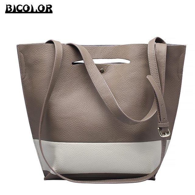 556092fc760a BICOLOR Casual Women Tote Bag for College Girl Bucket Bags Shoulder bag for  Girl High Quality Genuine Leather Handbags for Women