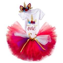 1 ano do bebê menina 1st aniversário princesa tutu vestido crianças roupas do bebê vestidos de batismo para meninas unicorn party wear + bandana