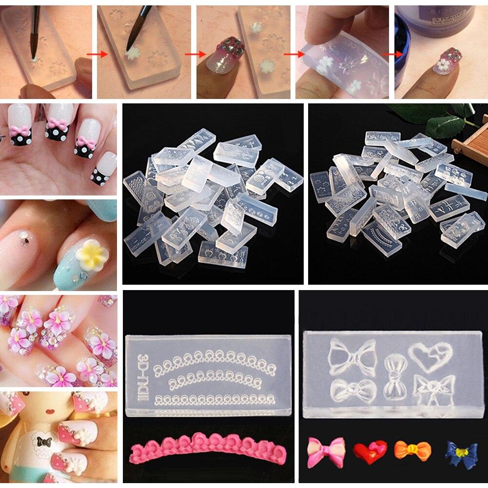 30pcs/Set Silicone 3D Stamping Nail Art Templates Acrylic Cabochon ...