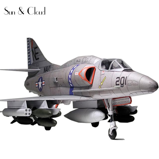 1:32 3D American Douglas A-4 Skyhawk Fighter Plane Aircraft Paper Model Assemble Hand Work Puzzle Game DIY Kids Toy