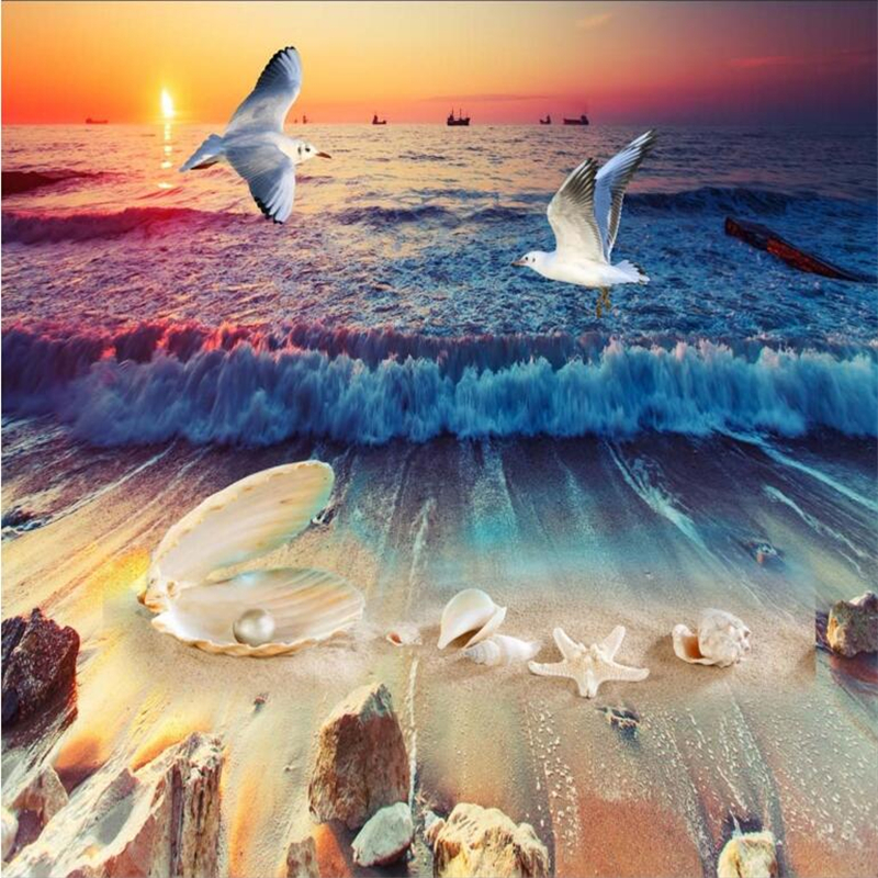 beibehang Beautiful beach shell pearl conch 3D floor tiles custom large-scale murals pvc wear-resistant environmental film environmentally friendly pvc inflatable shell water floating row of a variety of swimming pearl shell swimming ring