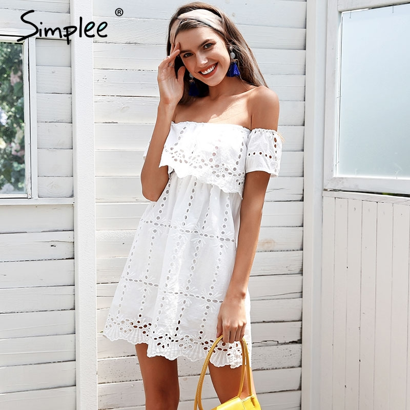 3c9cae91f6 Simplee Off shoulder lace white dress Hollow out streetwear casual women  dress Loose short summer dress female vestidos 2018-in Dresses from Women's  ...