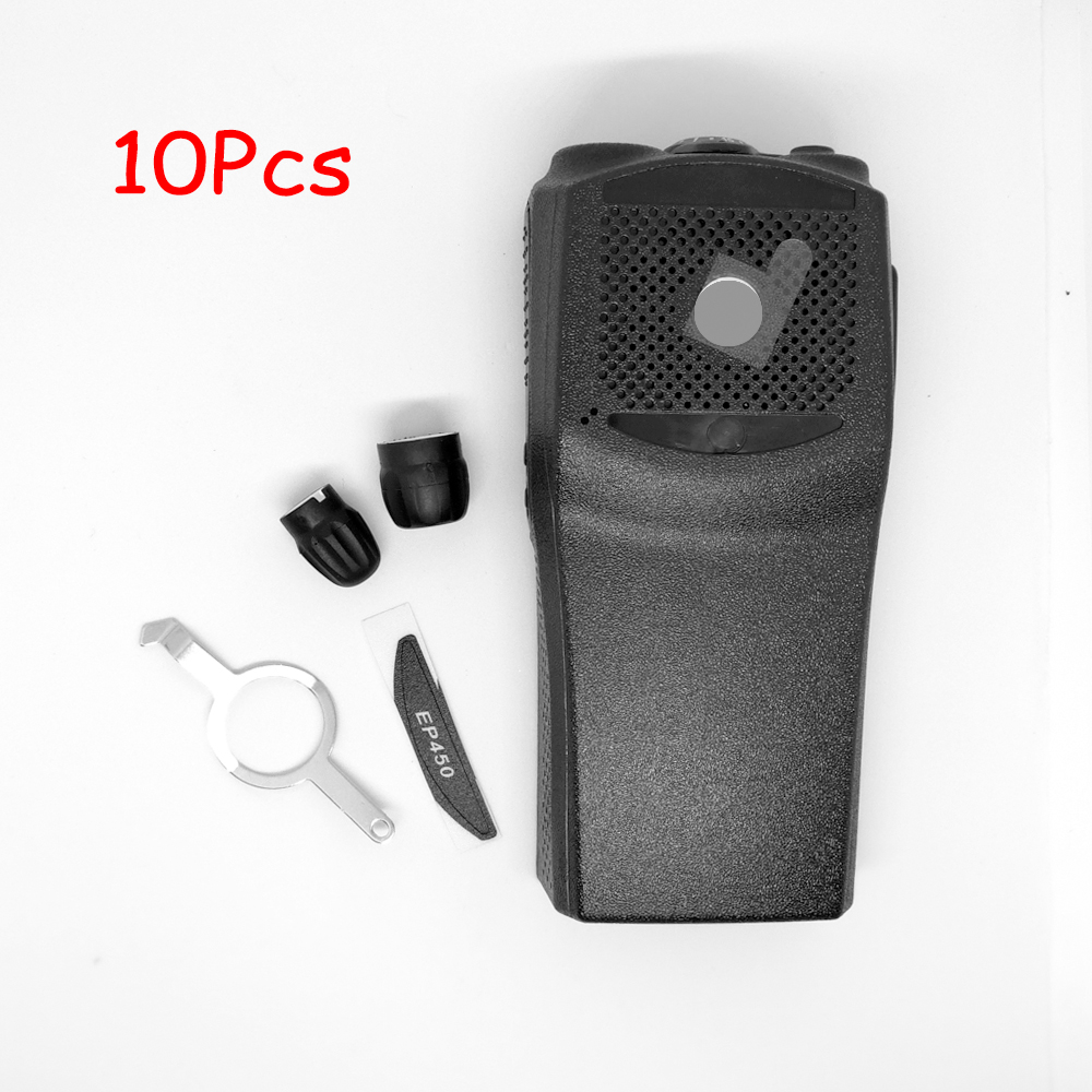 10set iNiTONE Replacement Front Casing with the knobs Repair Housing Cover Shell for motorola EP450 walkie <font><b>talkie</b></font> two way radio