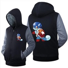 New Game Pokemon Go Hoodies Anime Pocket Monster Squirtle Gengar Hooded Winter cotton Coats Jackets Men Sweatshirts
