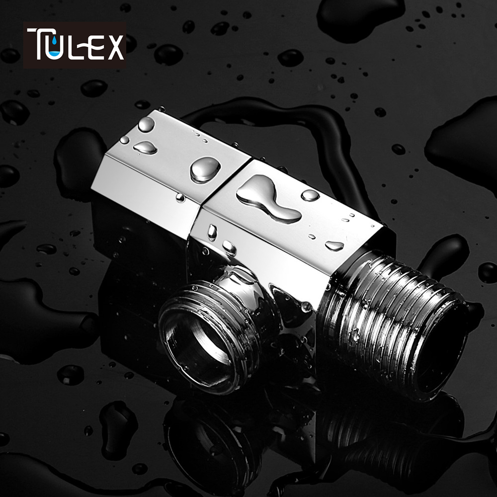 TULEX Water valve Faucet Angle Valve Brass Diverter G1/2 Toilet Angle Valve Shower Head Connector Solid Brass Chrome Plated mini brass ball valve panel mountable 450psi with lever handle chrome plated malexfemale npt
