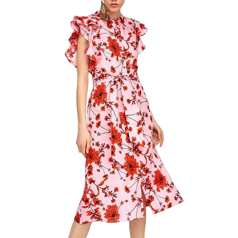 Women 2018 Summer Red Floral Printed Linen Cotton O-Neck Dress Ruffle Sleeves Women Sweet Midi Dresses with Sashes