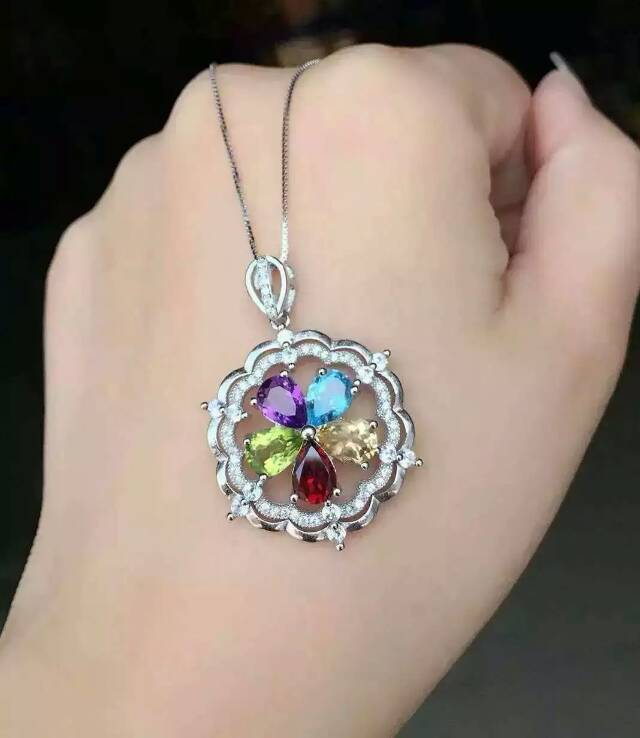 natural Multicolor crystal pendant 925 Sterling silver Natural gemstone Pendant Necklace trendy Lucky round Flower women jewelrynatural Multicolor crystal pendant 925 Sterling silver Natural gemstone Pendant Necklace trendy Lucky round Flower women jewelry