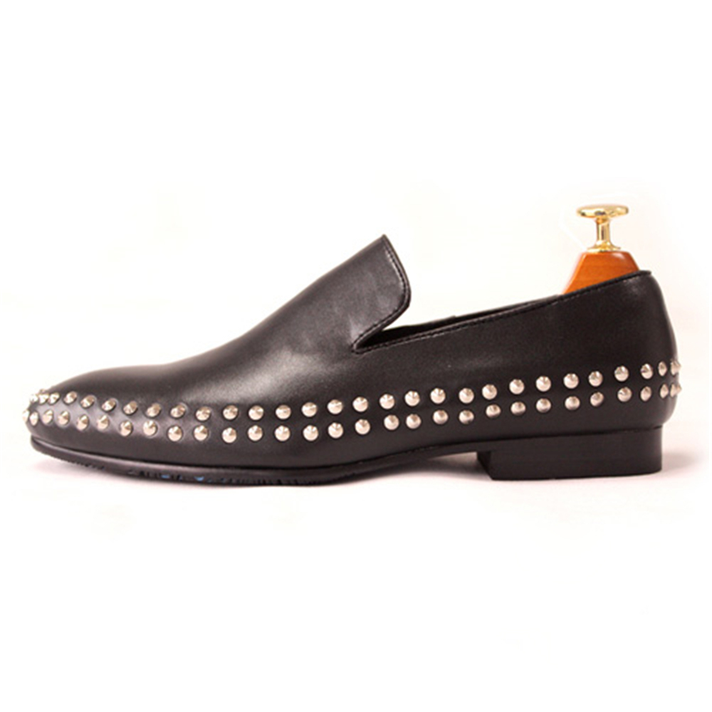 New loafers men first layer leather double loop rivet shallow lazy sets of feet men's shoes leanne banks feet first
