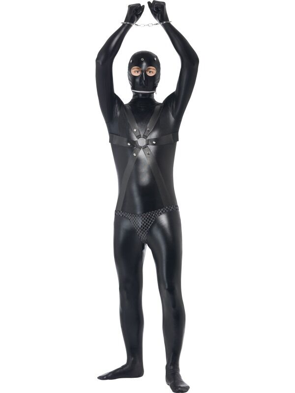 Plus Size Black Prison Costume For Men Adult Latex Leotard Men Cosplay Unitard Halloween Party Masked Prisoner Costumes