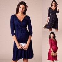 الخامس الرقبة ملابس للحمل ملابس الحمل للنساء الحوامل فستان فيستدو إمبازادا ملابس أمومة ملابس الأم