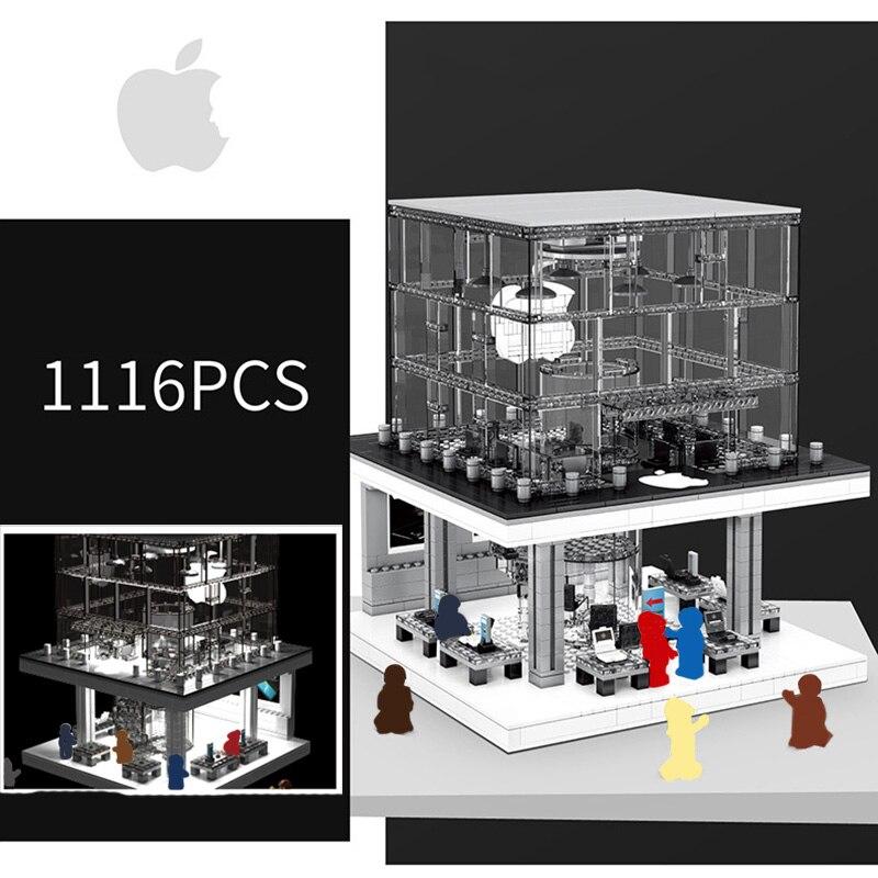 Creator City LED รุ่น Apple Store Street View Building Blocks ชุดอิฐคลาสสิกโทรศัพท์ของเล่นเด็ก Fit Legoing สถาปัตยกรรม-ใน บล็อก จาก ของเล่นและงานอดิเรก บน   3