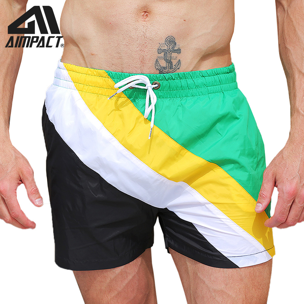 Desmiit Fast Dry Men's   Board     Shorts   with Lining Sexy Patchwork Drawstring Surf Swim Trunks Male Holiday Beachwear Sport DT88