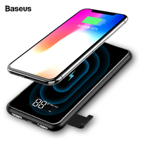 Baseus Portable 8000mAh QI Wireless Charger Power Bank For iPhone XS LCD Wireless Charging Powerbank For Samsung S10 Xiaomi mi 9