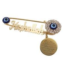 Koran AYATUL KURSI Mashallah Stainless Steel crystal brooch turkey evil eye Baby Pin