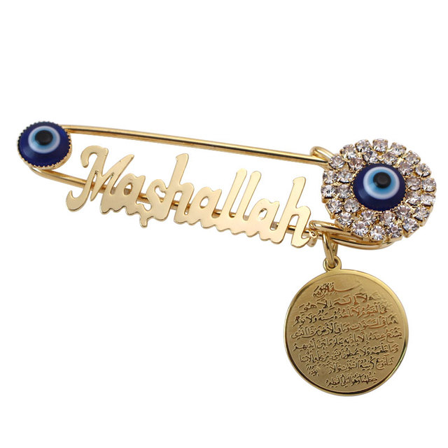 Koran AYATUL KURSI Mashallah Stainless Steel crystal brooch turkey evil eye Baby Pin