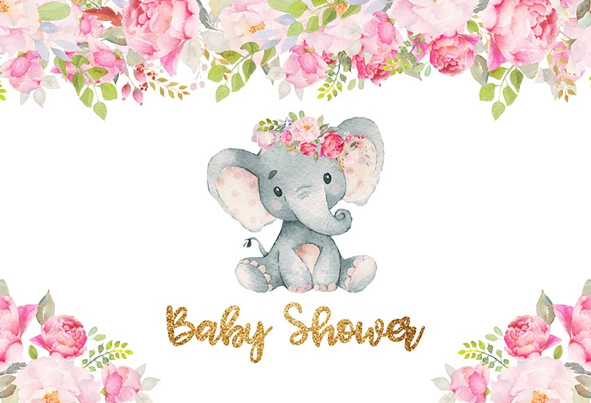 Mehofoto Cartoon Elephant Baby Shower Pink Flowers