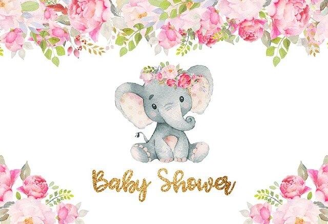 Mehofoto Cartoon Elephant Baby Shower Pink Flowers Children
