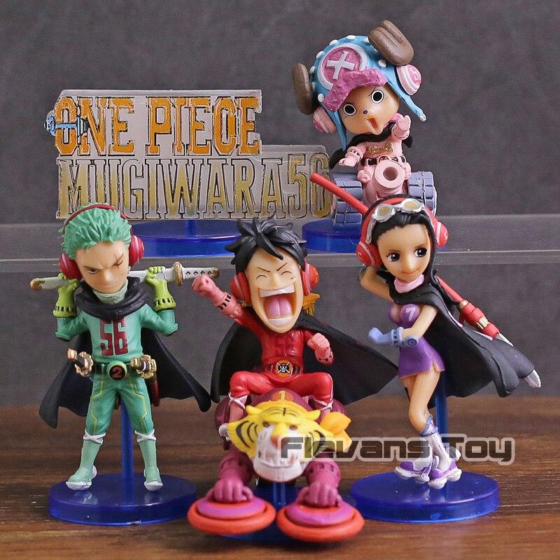 Anime One Piece WCF Mugiwara56 vol.1 Luffy Zoro Robin Chopper PVC Figures Toys 5pcs/set anime one piece super new stars 7pcs set luffy zoro eustass kid hawkins x drake trafalgar law jewelry bonney pvc figures toys