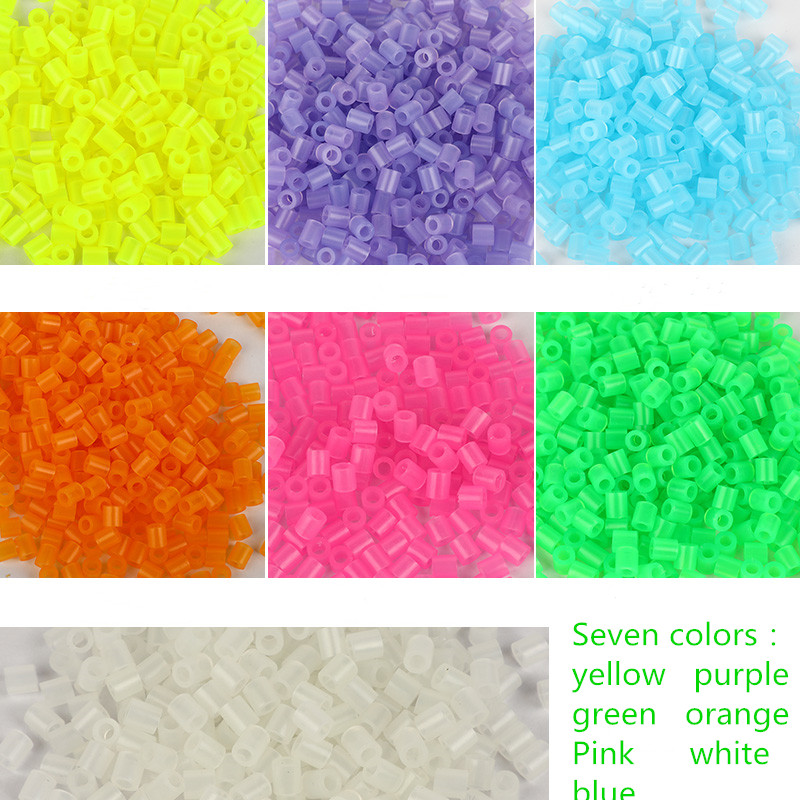 500pcs/bag 5mm Luminous Hama Beads 3D Puzzle Toys For Children 7 Colors Perler Beads Jigsaw Puzzle Educational Toys Juguetes