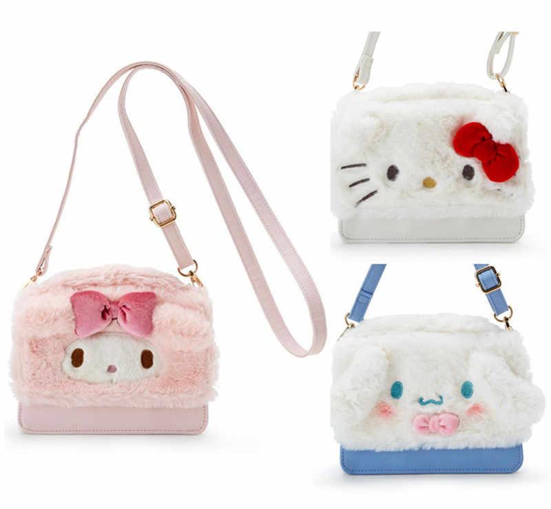 98140e1e454d Cute Hello Kitty My Melody Cinnamoroll Plush PU Leather Messenger Bag Mini  Small Crossbody Bags for
