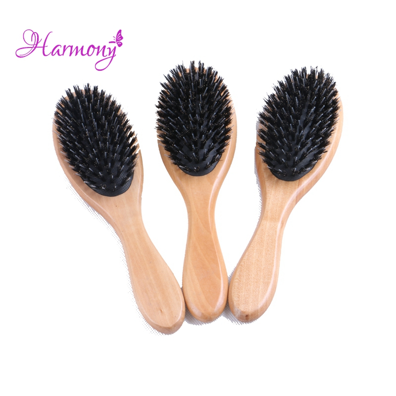 10pcs/lot Natural Varnish Wooden handle Boar Bristle Hair Brush, Wig Care Comb Hair Extension Brush