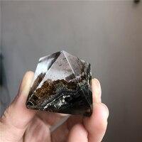 unique natural stone phantom quartz crystal pyramids like mountain tree inside green ghost dispel the negative energies