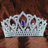 Classic Lady Tiaras Crowns Clear Crystal Queen Princess Bride Girls Wedding Prom Hair Jewelry Accessories Headband Silver Round