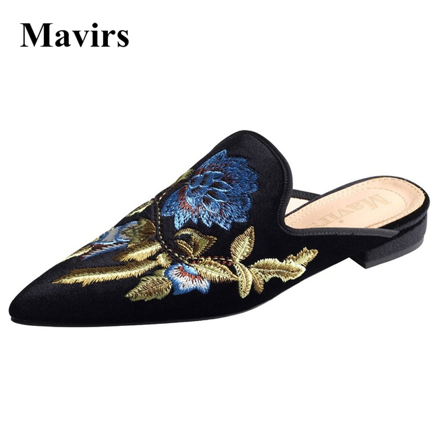 b5325c69466 MAVIRS Brand Women Shoes 2018 Spring Embroidery Velet Mules Slippers Black  Brown Red Flats Slip On Loafers US Size 5-15