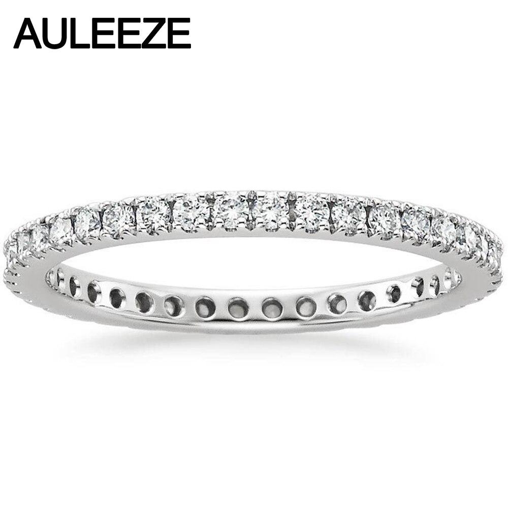 Réel Diamant Bonheur Eternity Engagement Wedding Band Natual Diamant Bijoux 14 k 585 Or Blanc De Mariage Bagues De Fiançailles Pour Les Femmes