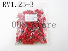 RV1.25-3 Merah Cincin Insulated Kawat Konektor Listrik Crimp Terminal Kabel Kawat Konektor 100 PCS RV1-3 RV RV1.25-3(China)