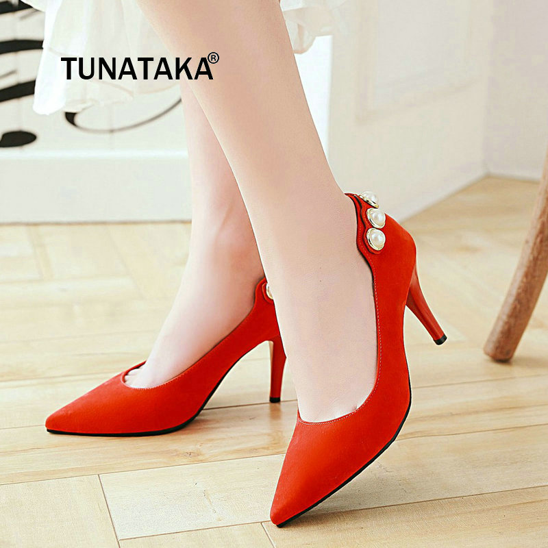New Thin High Heel Slip On Lazy Shoes Fashion Pointed Toe String Bead Dress Party Women Pumps Black Brown Red Green new stylish designer lady high heels shoes pointed toe concise slip on office career shoes woman string metal bead shoe edge