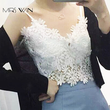Mrs Win Black & White Floral Lace Tank Top Deep V-neck Sexy Women Summer Skeleton Sleeveless Bra Top Lace Camisole Top Vest