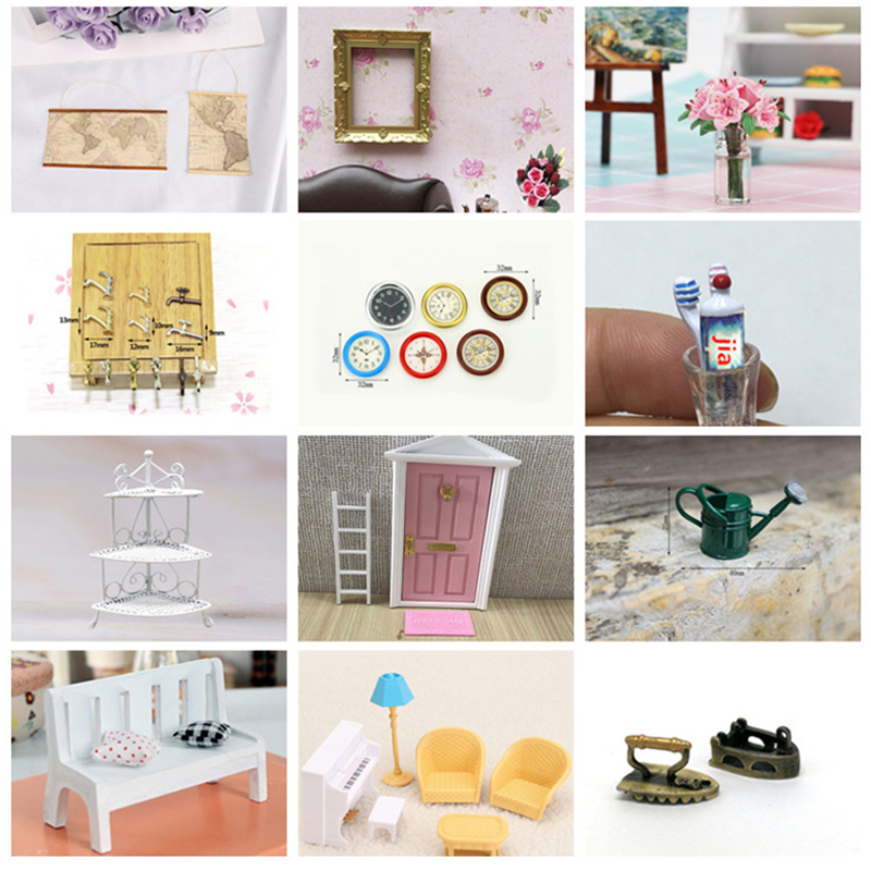 <font><b>1:12</b></font> Scale <font><b>Dollhouse</b></font> Miniature Wall Clock Play Doll House <font><b>Miniaturas</b></font> Home Decor Accessories Toy Pretend Play Furniture Toys image