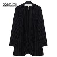 JOGTUME Work Office Coat 2017 Spring Autumn Women OL Tops Black White Stripe Long Sleeve Ladies