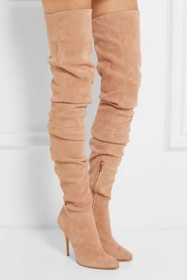 2017 New hot customize over the knee high boots women stylish elastic pointed toe long boots autumn winter zapatos mujer